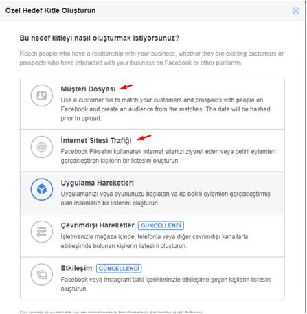facebook özel hedef kitle oluşturma