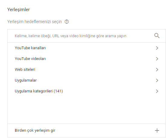 Youtube yerleşimler